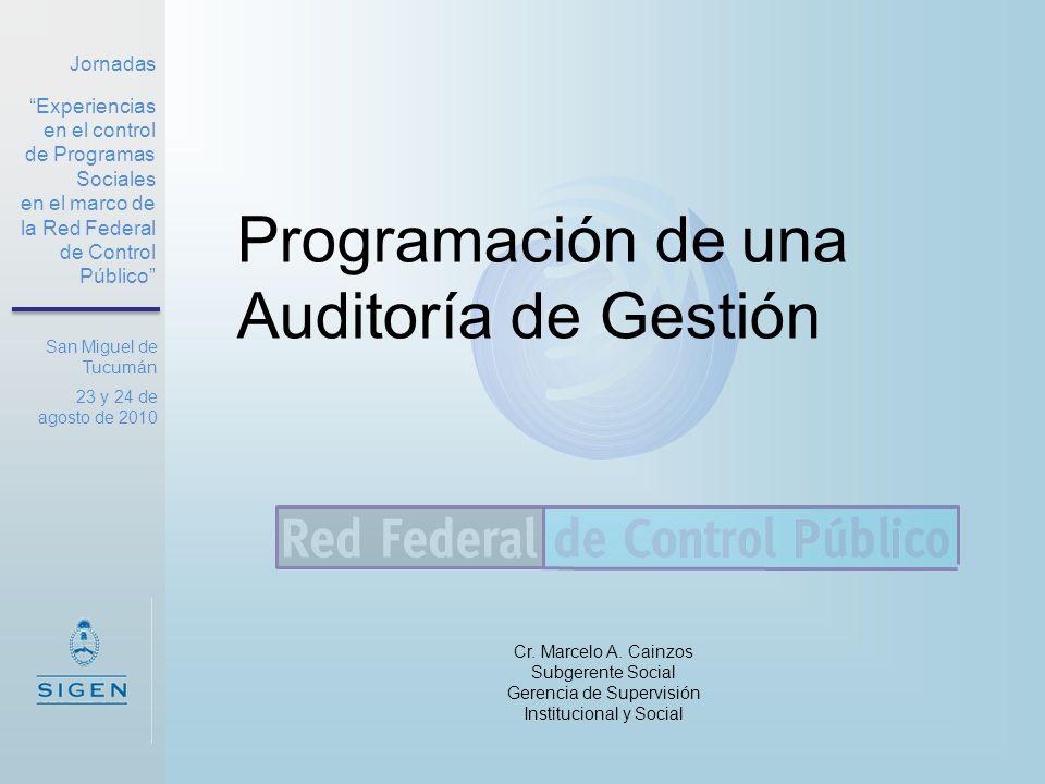 Programación de una Auditoría de Gestión Cr. Marcelo A. Cainzos Subgerente Social Gerencia de Supervisión Institucional y Social Jornadas Experiencias