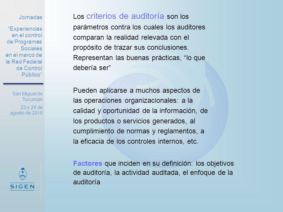 Jornadas Experiencias en el control de Programas Sociales en el marco de la Red Federal de Control Público San Miguel de Tucumán 23 y 24 de agosto de 2010 Objetividad: Los criterios objetivos están exentos de cualquier sesgo del auditor o la dirección.
