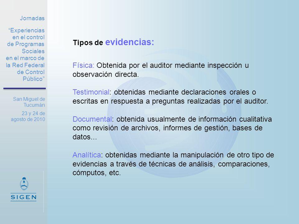 Jornadas Experiencias en el control de Programas Sociales en el marco de la Red Federal de Control Público San Miguel de Tucumán 23 y 24 de agosto de 2010 Fuentes de la evidencia: Primaria : Obtenida en forma directa por los auditores.