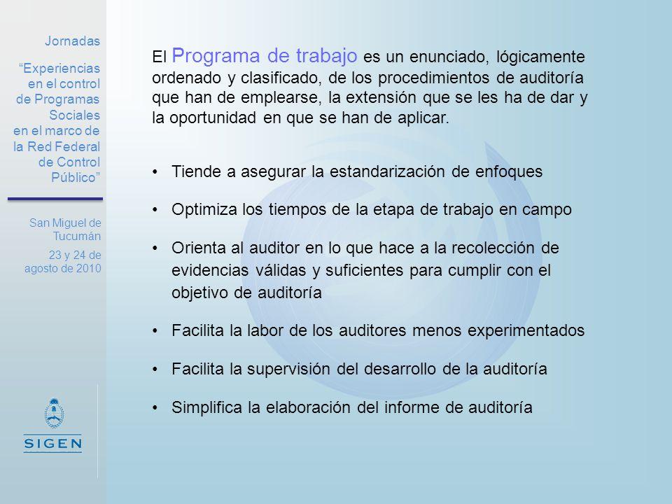 Jornadas Experiencias en el control de Programas Sociales en el marco de la Red Federal de Control Público San Miguel de Tucumán 23 y 24 de agosto de 2010 El Programa de trabajo Estructura sugerida: