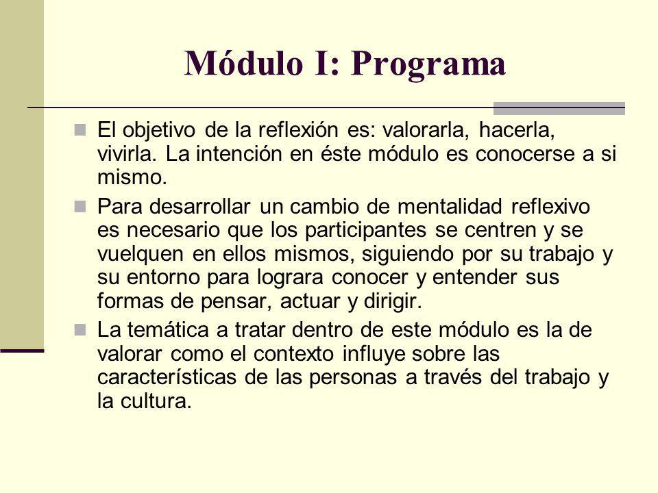 Módulo I: Programa El objetivo de la reflexión es: valorarla, hacerla, vivirla. La intención en éste módulo es conocerse a si mismo. Para desarrollar