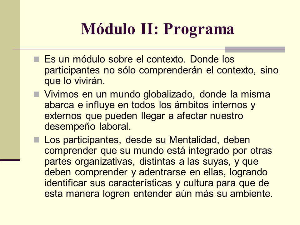 Módulo II: Programa Es un módulo sobre el contexto. Donde los participantes no sólo comprenderán el contexto, sino que lo vivirán. Vivimos en un mundo