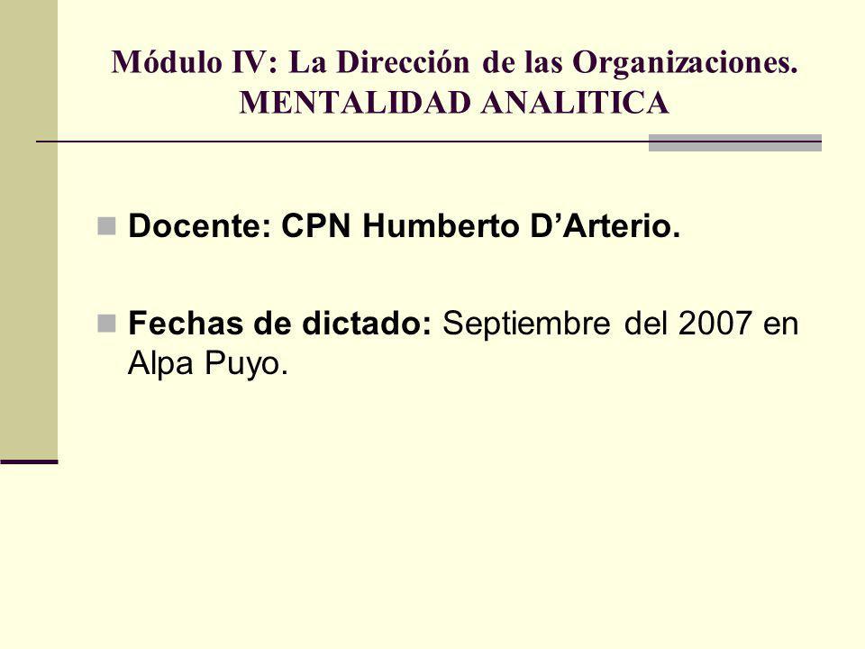 Módulo IV: La Dirección de las Organizaciones. MENTALIDAD ANALITICA Docente: CPN Humberto DArterio. Fechas de dictado: Septiembre del 2007 en Alpa Puy