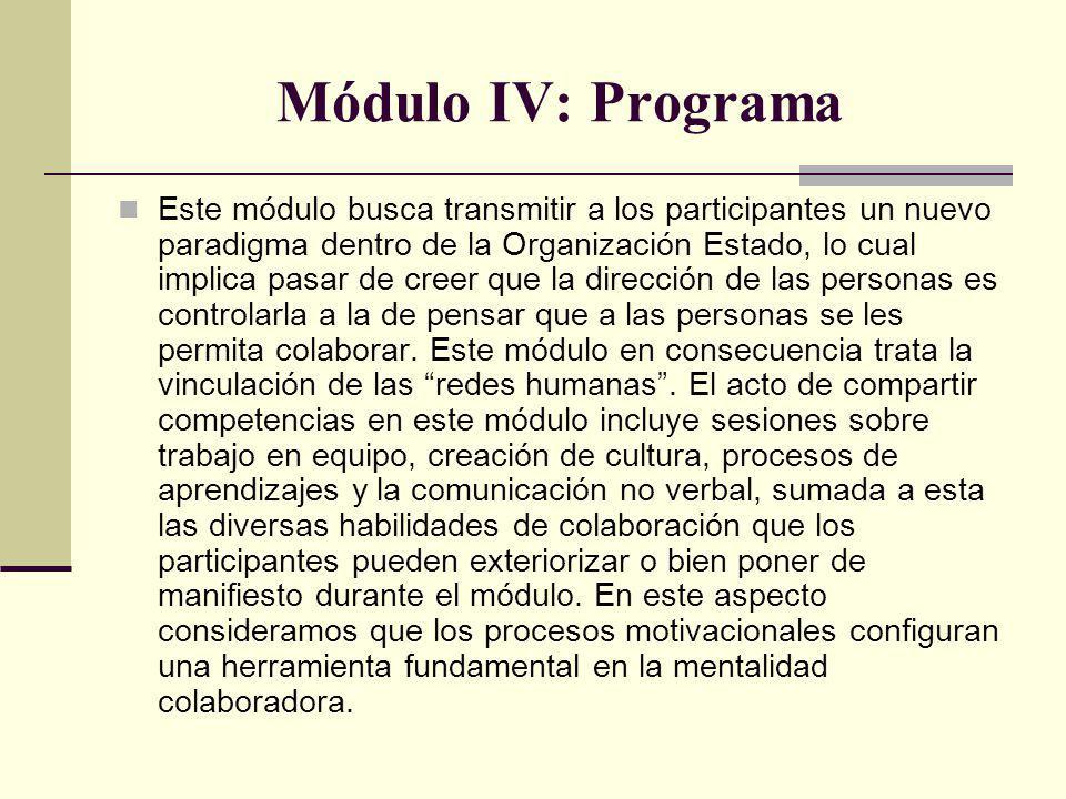 Módulo IV: Programa Este módulo busca transmitir a los participantes un nuevo paradigma dentro de la Organización Estado, lo cual implica pasar de creer que la dirección de las personas es controlarla a la de pensar que a las personas se les permita colaborar.