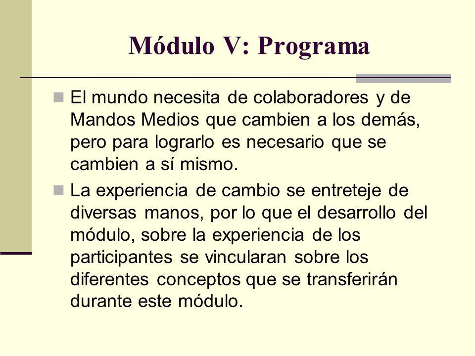 Módulo V: Programa El mundo necesita de colaboradores y de Mandos Medios que cambien a los demás, pero para lograrlo es necesario que se cambien a sí mismo.