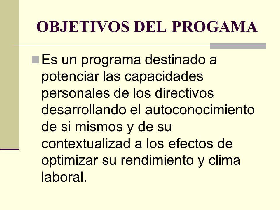 OBJETIVOS DEL PROGAMA Es un programa destinado a potenciar las capacidades personales de los directivos desarrollando el autoconocimiento de si mismos y de su contextualizad a los efectos de optimizar su rendimiento y clima laboral.