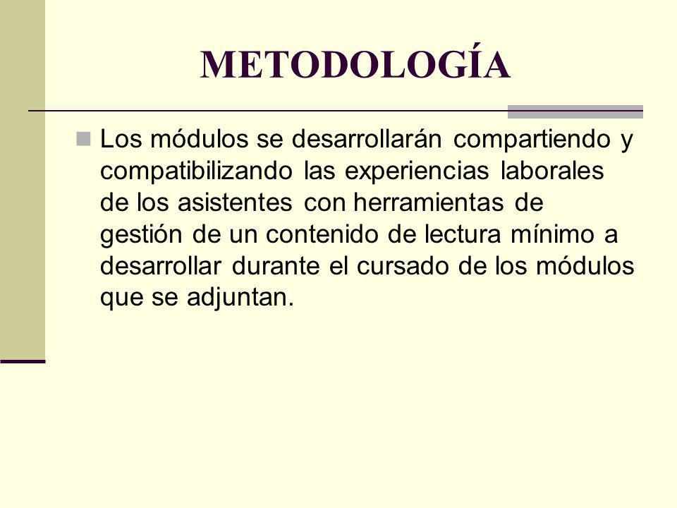 METODOLOGÍA Los módulos se desarrollarán compartiendo y compatibilizando las experiencias laborales de los asistentes con herramientas de gestión de u