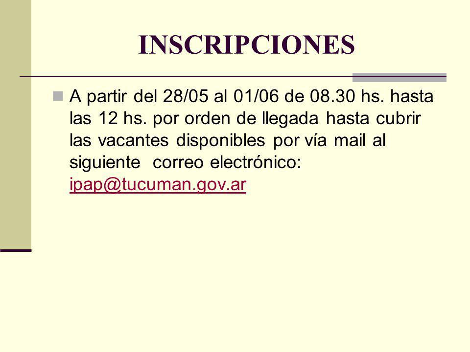 INSCRIPCIONES A partir del 28/05 al 01/06 de 08.30 hs. hasta las 12 hs. por orden de llegada hasta cubrir las vacantes disponibles por vía mail al sig