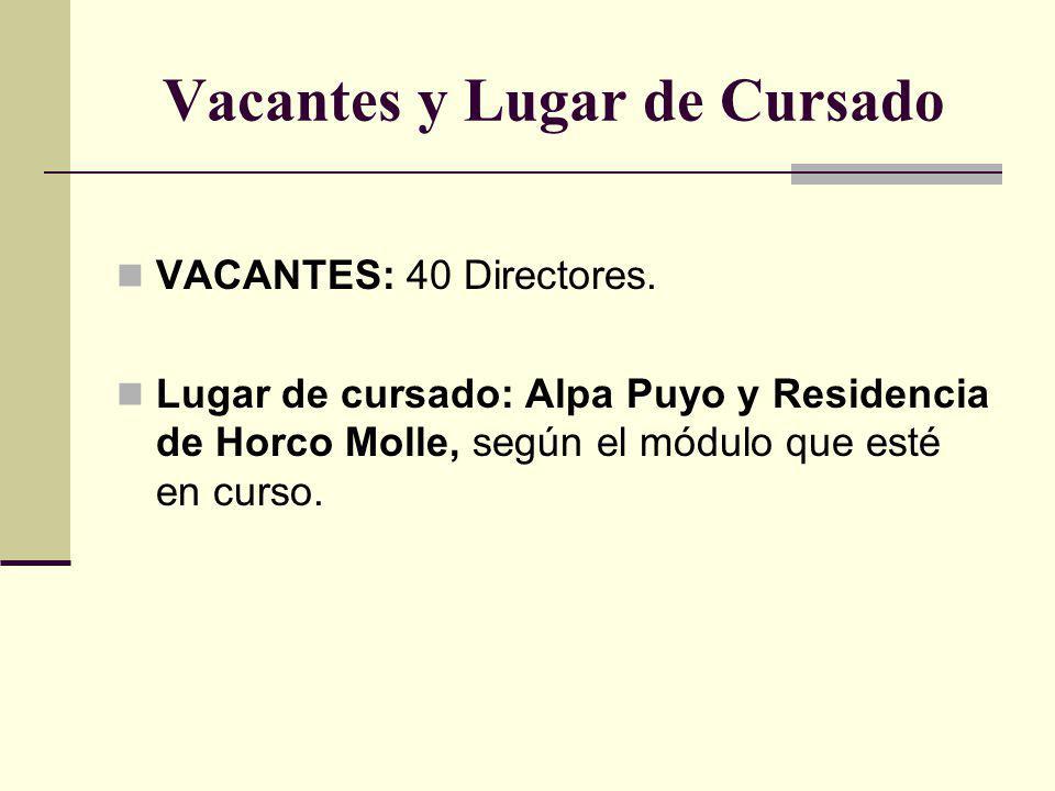 Vacantes y Lugar de Cursado VACANTES: 40 Directores. Lugar de cursado: Alpa Puyo y Residencia de Horco Molle, según el módulo que esté en curso.