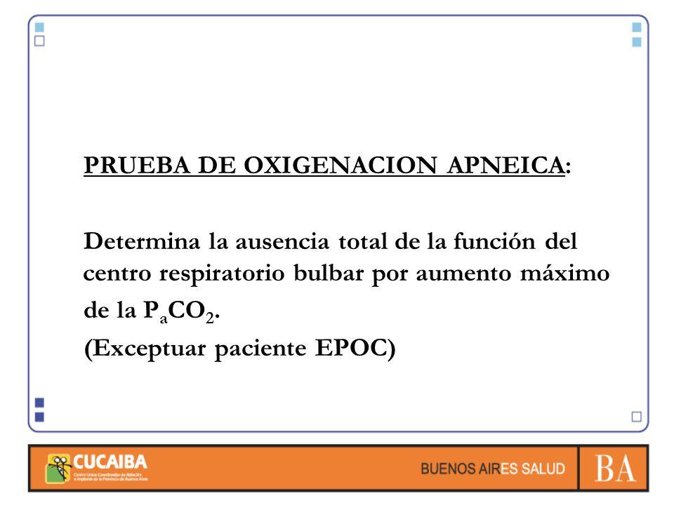 PRUEBA DE OXIGENACION APNEICA: Determina la ausencia total de la función del centro respiratorio bulbar por aumento máximo de la P a CO 2. (Exceptuar