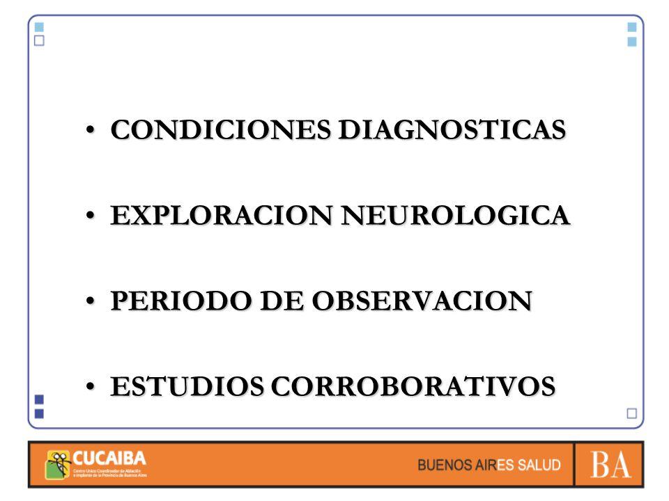 CONDICIONES DIAGNOSTICASCONDICIONES DIAGNOSTICAS EXPLORACION NEUROLOGICAEXPLORACION NEUROLOGICA PERIODO DE OBSERVACIONPERIODO DE OBSERVACION ESTUDIOS