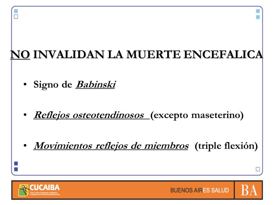 NO INVALIDAN LA MUERTE ENCEFALICA Signo de Babinski Reflejos osteotendinosos (excepto maseterino) Movimientos reflejos de miembros (triple flexión)