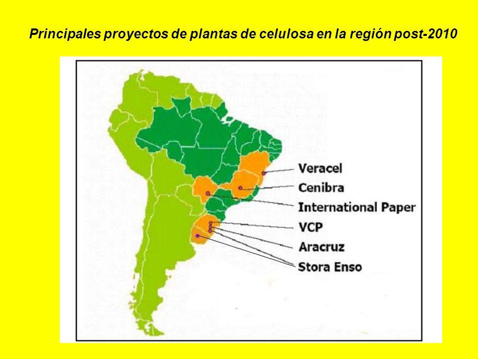 Principales proyectos de plantas de celulosa en la región post-2010