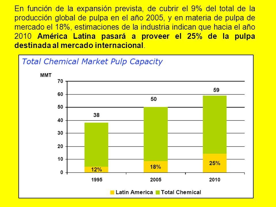 En función de la expansión prevista, de cubrir el 9% del total de la producción global de pulpa en el año 2005, y en materia de pulpa de mercado el 18%, estimaciones de la industria indican que hacia el año 2010 América Latina pasará a proveer el 25% de la pulpa destinada al mercado internacional.