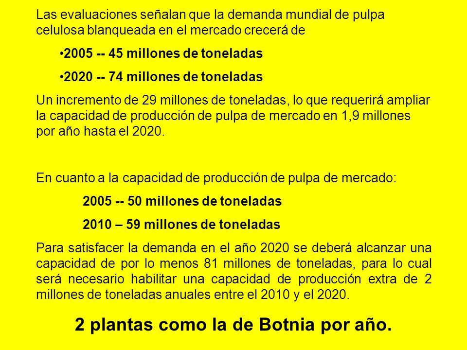 Las evaluaciones señalan que la demanda mundial de pulpa celulosa blanqueada en el mercado crecerá de 2005 -- 45 millones de toneladas 2020 -- 74 millones de toneladas Un incremento de 29 millones de toneladas, lo que requerirá ampliar la capacidad de producción de pulpa de mercado en 1,9 millones por año hasta el 2020.