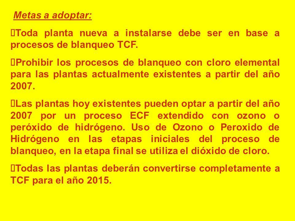 Metas a adoptar: Toda planta nueva a instalarse debe ser en base a procesos de blanqueo TCF.