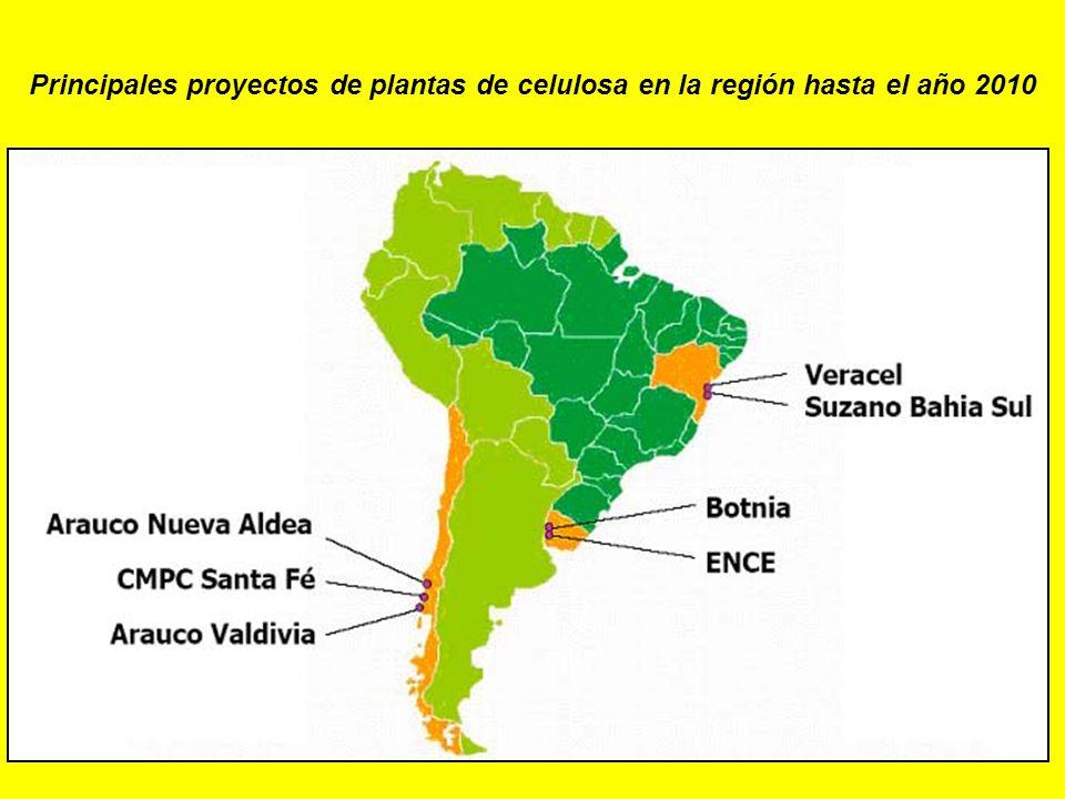 Principales proyectos de plantas de celulosa en la región hasta el año 2010