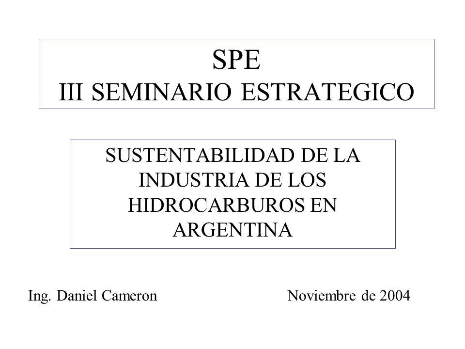 SPE III SEMINARIO ESTRATEGICO SUSTENTABILIDAD DE LA INDUSTRIA DE LOS HIDROCARBUROS EN ARGENTINA Ing.
