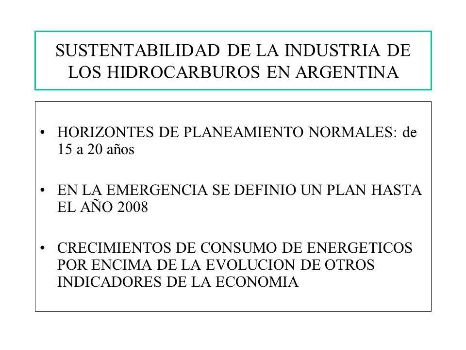 SUSTENTABILIDAD DE LA INDUSTRIA DE LOS HIDROCARBUROS EN ARGENTINA HORIZONTES DE PLANEAMIENTO NORMALES: de 15 a 20 años EN LA EMERGENCIA SE DEFINIO UN PLAN HASTA EL AÑO 2008 CRECIMIENTOS DE CONSUMO DE ENERGETICOS POR ENCIMA DE LA EVOLUCION DE OTROS INDICADORES DE LA ECONOMIA