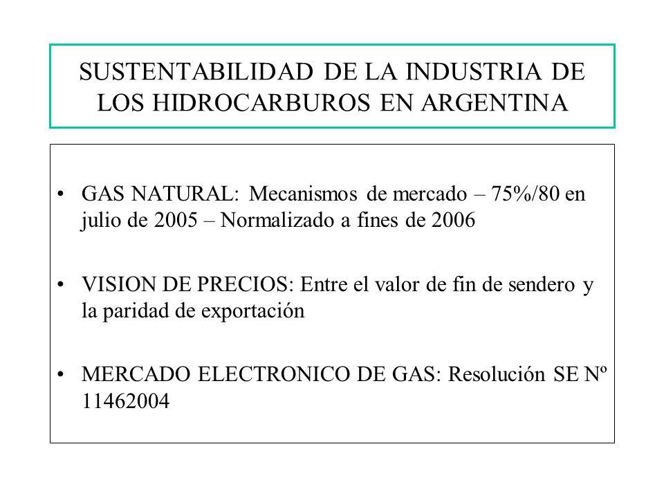 GAS NATURAL: Mecanismos de mercado – 75%/80 en julio de 2005 – Normalizado a fines de 2006 VISION DE PRECIOS: Entre el valor de fin de sendero y la paridad de exportación MERCADO ELECTRONICO DE GAS: Resolución SE Nº 11462004