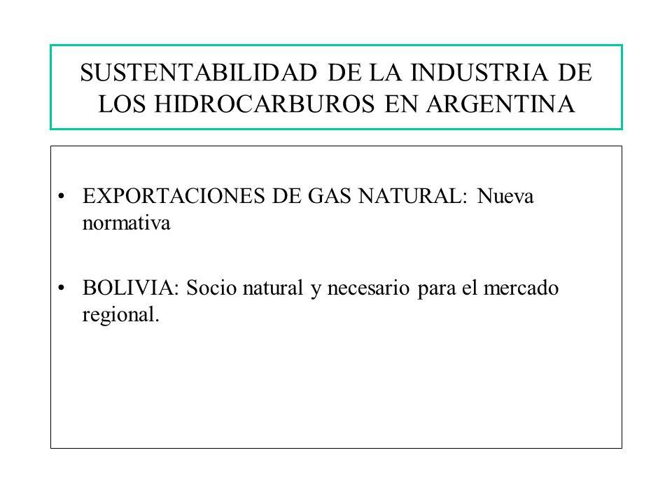 SUSTENTABILIDAD DE LA INDUSTRIA DE LOS HIDROCARBUROS EN ARGENTINA EXPORTACIONES DE GAS NATURAL: Nueva normativa BOLIVIA: Socio natural y necesario para el mercado regional.