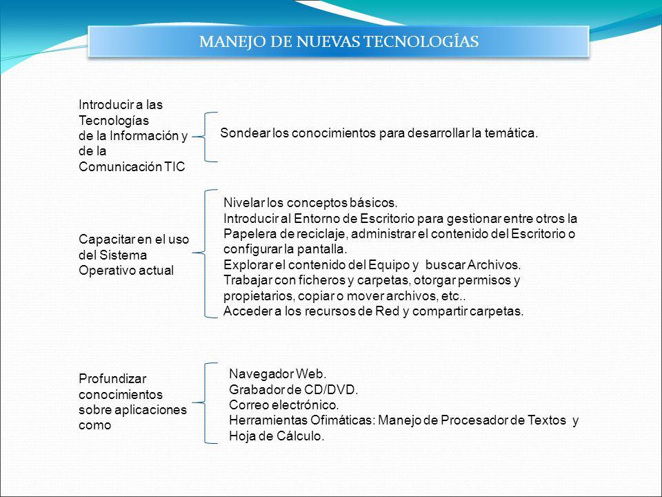 Capacitar en el uso del Sistema Operativo actual MANEJO DE NUEVAS TECNOLOGÍAS Profundizar conocimientos sobre aplicaciones como Nivelar los conceptos