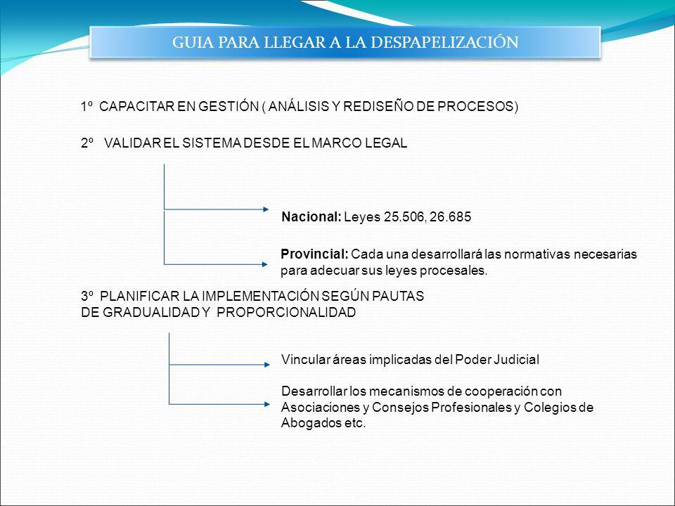 GUIA PARA LLEGAR A LA DESPAPELIZACIÓN 1º CAPACITAR EN GESTIÓN ( ANÁLISIS Y REDISEÑO DE PROCESOS) Provincial: Cada una desarrollará las normativas nece