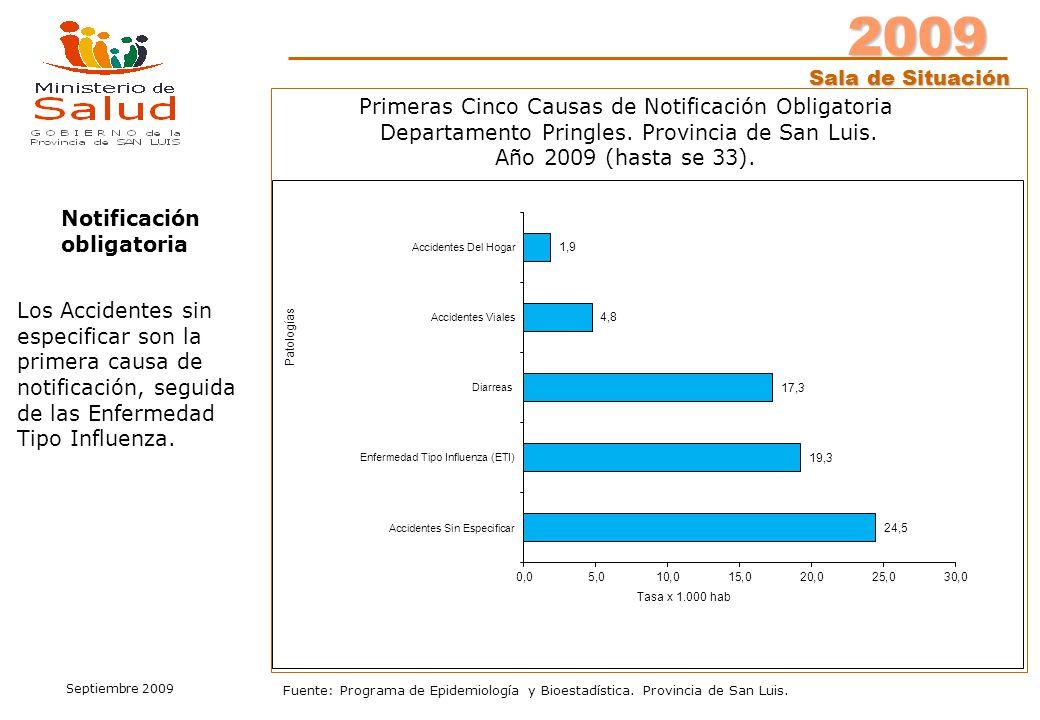 2009 Sala de Situación Septiembre 2009 Fuente: Programa de Epidemiología y Bioestadística. Provincia de San Luis. Notificación obligatoria Primeras Ci
