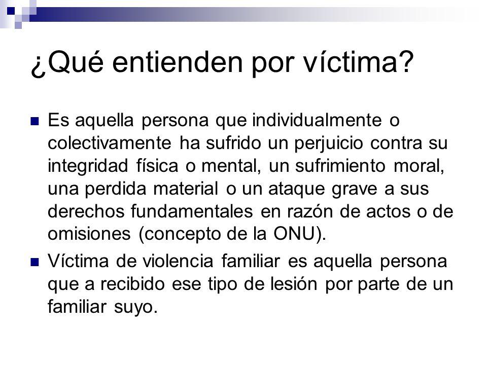 ¿Qué entienden por víctima? Es aquella persona que individualmente o colectivamente ha sufrido un perjuicio contra su integridad física o mental, un s