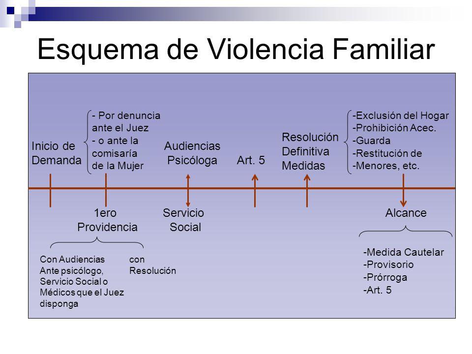 Esquema de Violencia Familiar Inicio de Demanda 1ero Providencia Con Audiencias Ante psicólogo, Servicio Social o Médicos que el Juez disponga con Res