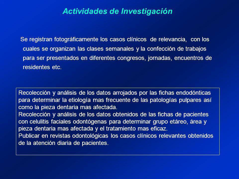 Actividades de Investigación Se registran fotográficamente los casos clínicos de relevancia, con los cuales se organizan las clases semanales y la con