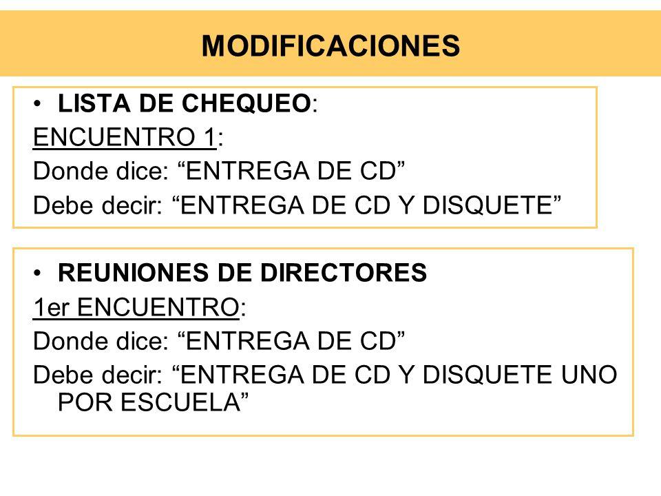 LISTA DE CHEQUEO: ENCUENTRO 1: Donde dice: ENTREGA DE CD Debe decir: ENTREGA DE CD Y DISQUETE REUNIONES DE DIRECTORES 1er ENCUENTRO: Donde dice: ENTRE