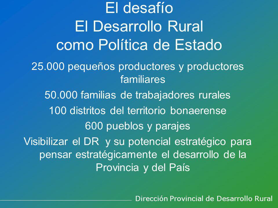 El desafío El Desarrollo Rural como Política de Estado 25.000 pequeños productores y productores familiares 50.000 familias de trabajadores rurales 10