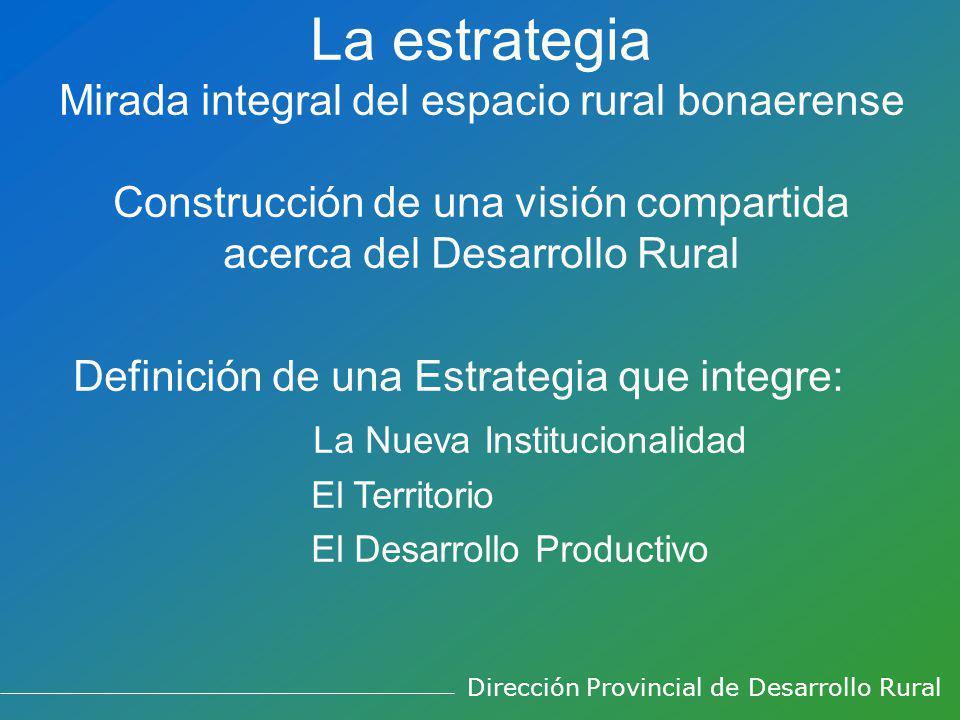 La estrategia Mirada integral del espacio rural bonaerense Construcción de una visión compartida acerca del Desarrollo Rural Definición de una Estrategia que integre: La Nueva Institucionalidad El Territorio El Desarrollo Productivo Dirección Provincial de Desarrollo Rural