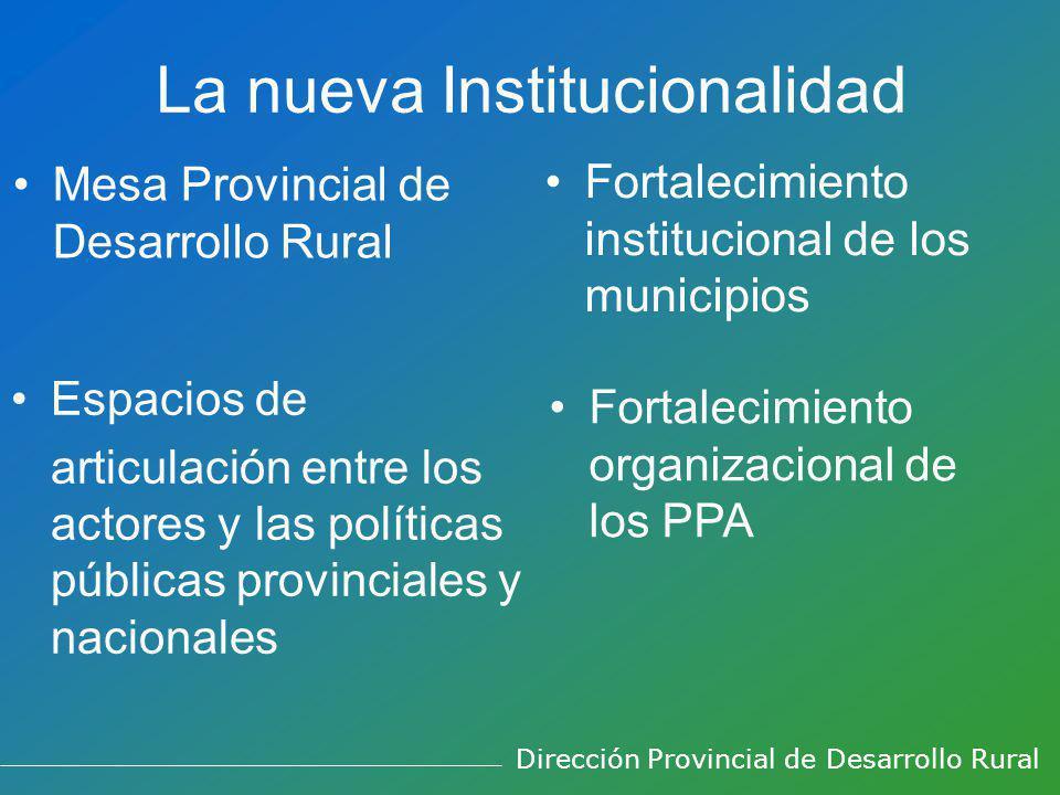 La nueva Institucionalidad Mesa Provincial de Desarrollo Rural Fortalecimiento institucional de los municipios Espacios de articulación entre los acto