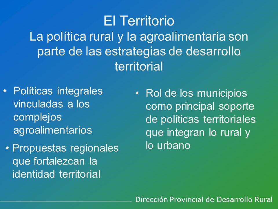 El Territorio La política rural y la agroalimentaria son parte de las estrategias de desarrollo territorial Políticas integrales vinculadas a los complejos agroalimentarios Rol de los municipios como principal soporte de políticas territoriales que integran lo rural y lo urbano Propuestas regionales que fortalezcan la identidad territorial Dirección Provincial de Desarrollo Rural