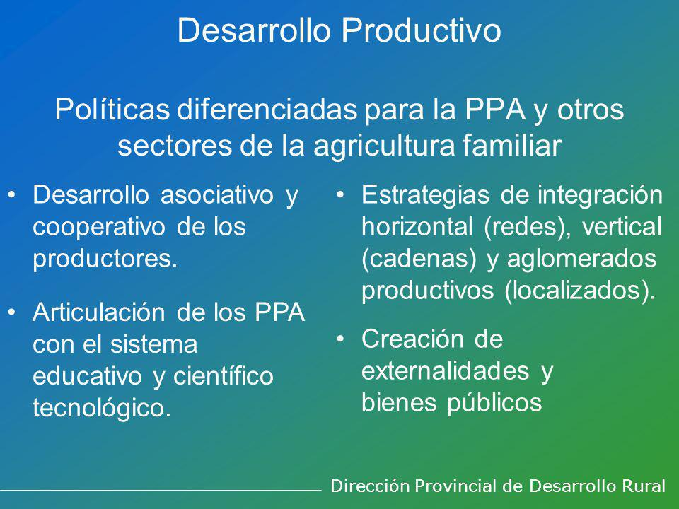 Desarrollo Productivo Políticas diferenciadas para la PPA y otros sectores de la agricultura familiar Desarrollo asociativo y cooperativo de los productores.