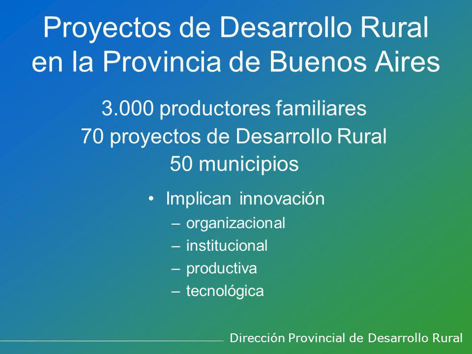Proyectos de Desarrollo Rural en la Provincia de Buenos Aires 3.000 productores familiares 70 proyectos de Desarrollo Rural 50 municipios Implican innovación –organizacional –institucional –productiva –tecnológica Dirección Provincial de Desarrollo Rural
