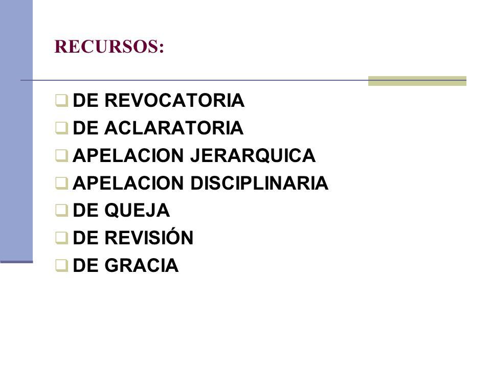 RECURSOS: DE REVOCATORIA DE ACLARATORIA APELACION JERARQUICA APELACION DISCIPLINARIA DE QUEJA DE REVISIÓN DE GRACIA