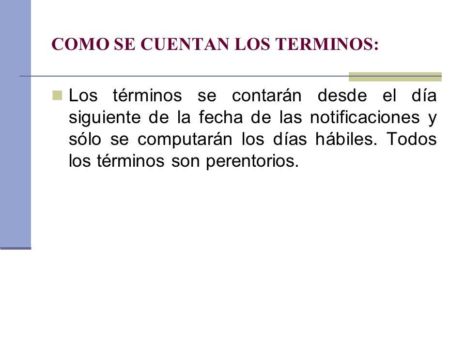 COMO SE CUENTAN LOS TERMINOS: Los términos se contarán desde el día siguiente de la fecha de las notificaciones y sólo se computarán los días hábiles.