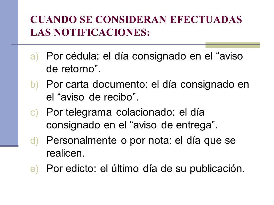 CUANDO SE CONSIDERAN EFECTUADAS LAS NOTIFICACIONES: a) Por cédula: el día consignado en el aviso de retorno. b) Por carta documento: el día consignado
