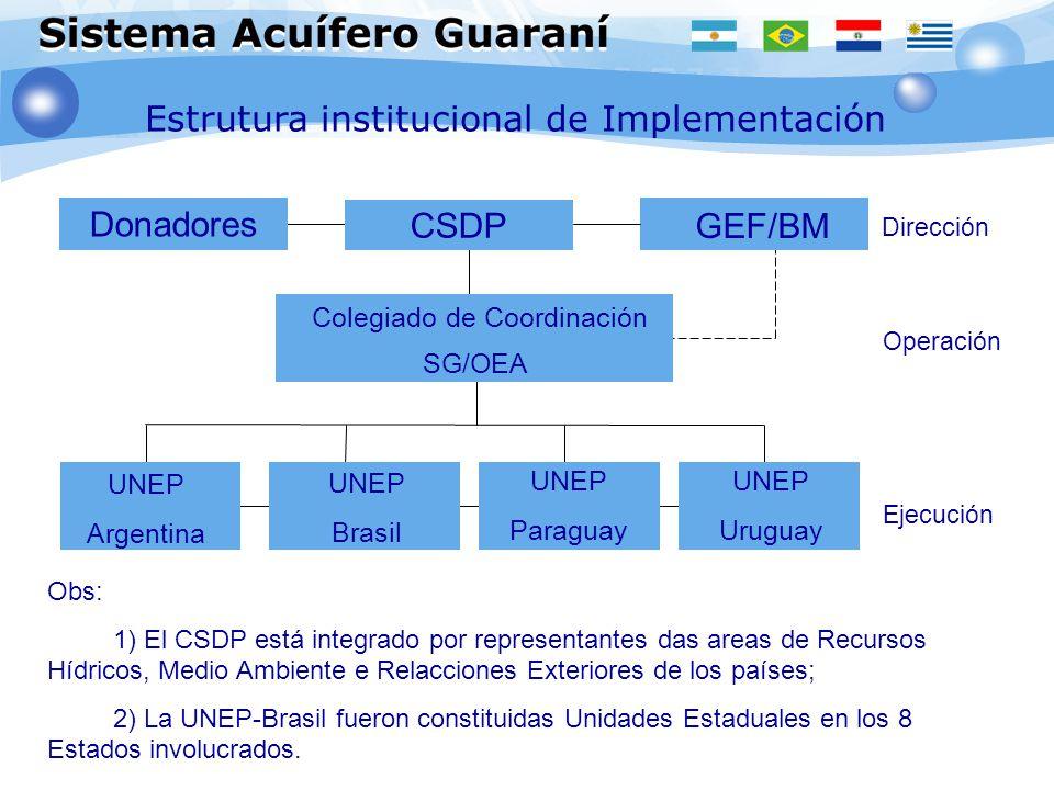 Estrutura institucional de Implementación Ejecución Donadores CSDP GEF/BM Colegiado de Coordinación SG/OEA UNEP Argentina Dirección Operación UNEP Bra