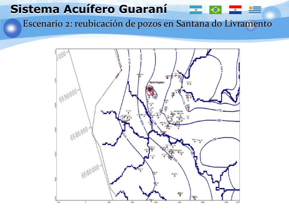 K H = 0.95 K V = 0.095 Escenario 2: reubicación de pozos en Santana do Livramento