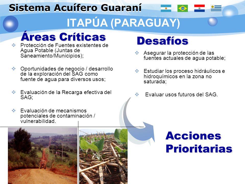 ITAPÚA (PARAGUAY) Protección de Fuentes existentes de Agua Potable (Juntas de Saneamiento/Municipios); Oportunidades de negocio / desarrollo de la exp