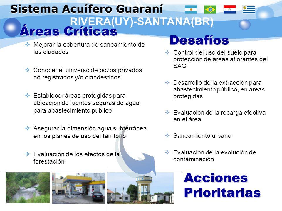 RIVERA(UY)-SANTANA(BR) Áreas Críticas Desafíos Acciones Prioritarias Control del uso del suelo para protección de áreas aflorantes del SAG. Desarrollo