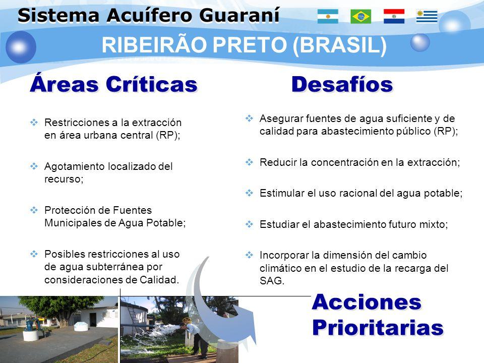 RIBEIRÃO PRETO (BRASIL) Áreas Críticas Desafíos Acciones Prioritarias Restricciones a la extracción en área urbana central (RP); Agotamiento localizad