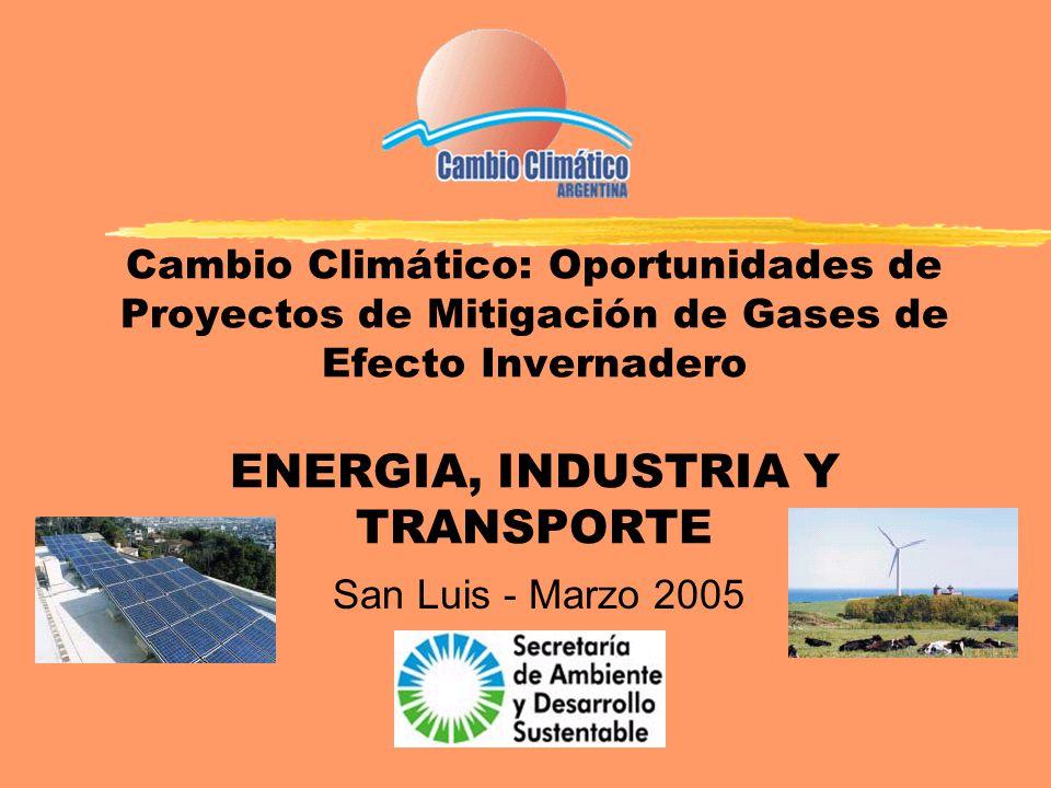 Cambio Climático: Oportunidades de Proyectos de Mitigación de Gases de Efecto Invernadero ENERGIA, INDUSTRIA Y TRANSPORTE San Luis - Marzo 2005
