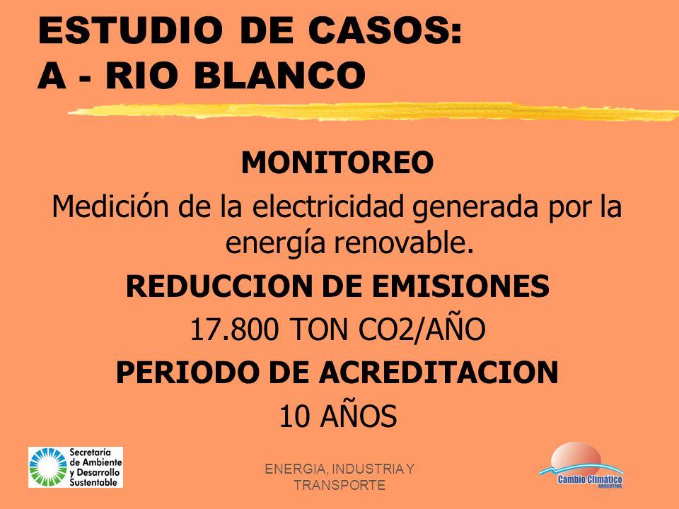 ENERGIA, INDUSTRIA Y TRANSPORTE ESTUDIO DE CASOS: A - RIO BLANCO MONITOREO Medición de la electricidad generada por la energía renovable. REDUCCION DE