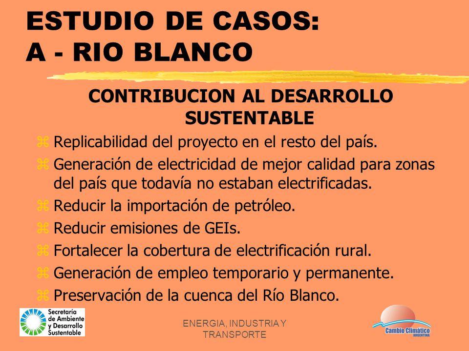ENERGIA, INDUSTRIA Y TRANSPORTE ESTUDIO DE CASOS: A - RIO BLANCO CONTRIBUCION AL DESARROLLO SUSTENTABLE zReplicabilidad del proyecto en el resto del p