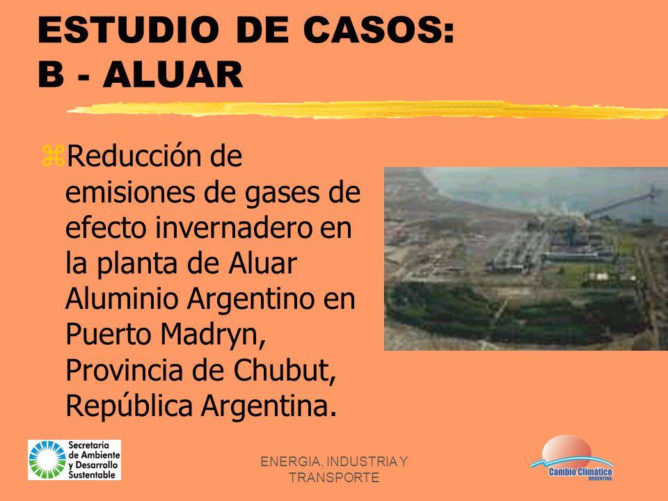 ENERGIA, INDUSTRIA Y TRANSPORTE ESTUDIO DE CASOS: B - ALUAR zReducción de emisiones de gases de efecto invernadero en la planta de Aluar Aluminio Arge